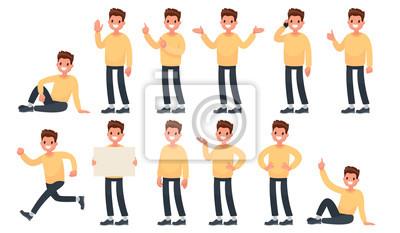 Fototapete Set von einem Kerl in Freizeitkleidung in verschiedenen Posen. Ein Charakter für Ihr Projekt. Vektor-Illustration in einem flachen Stil