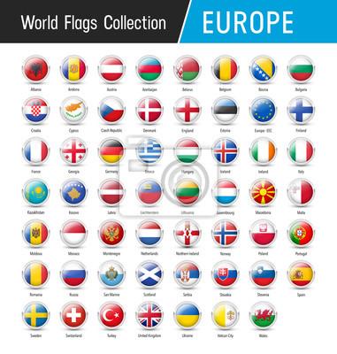 Set von europäischen flaggen - vektor runde symbole fototapete ...