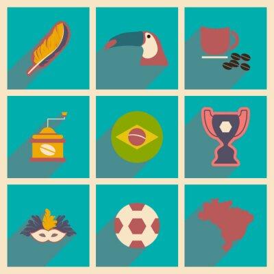 Fototapete Set von flachen Icons mit langem Schatten Brasilien