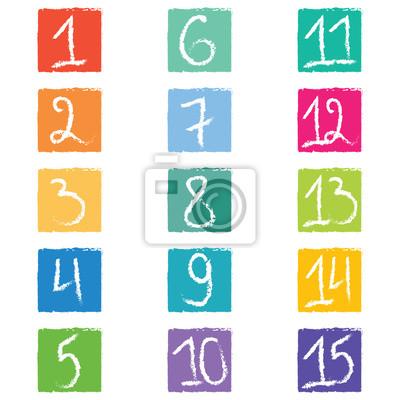 Set von fünfzehn bunten Zahl-Tags in Quadraten mit gezackten Kanten