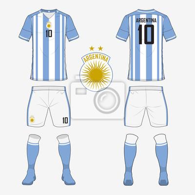 Set von fußball-trikot oder fußball-kit-vorlage für argentinien ...