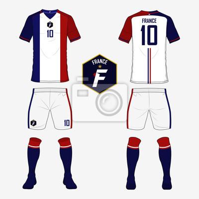 Set von fußball-trikot oder fußball-kit-vorlage für frankreich ...