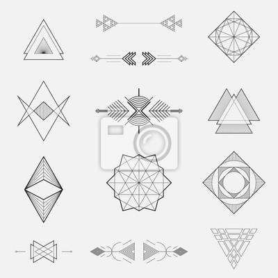Fototapete Set von geometrischen Formen, Dreiecke, Linien Design, Vektor-