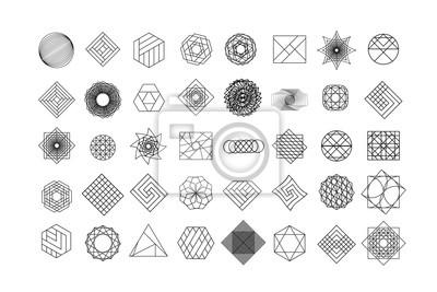 Fototapete Set von geometrischen Formen. Modischer Hippie-Hintergrund und -firmenzeichen. Religion, Philosophie, Spiritualität, Okkultismus Symbole Sammlung