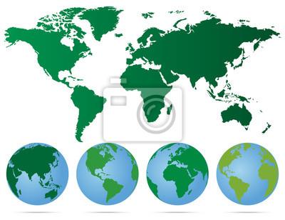 Karte Erde.Fototapete Set Von Globen Mit Verschiedenen Kontinenten Und Eine Karte Erde