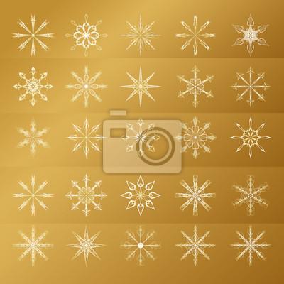 Set von goldenen Schneeflocken