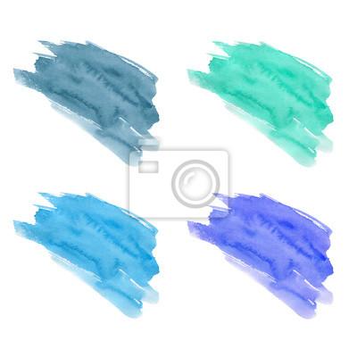 Fototapete Set Von Hand Gezeichnet Aquarell Flecken. Lila, Blaue, Azurblaue  Und Grau