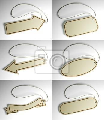 Fototapete Set von Handelspreisschilderin verschiedenen Formen mit Streichern