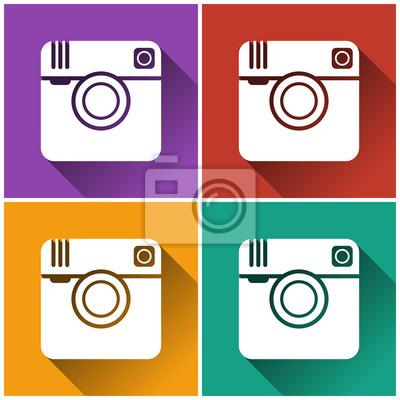 Set von hipster Foto Kamera-Symbol. Flache Bauform