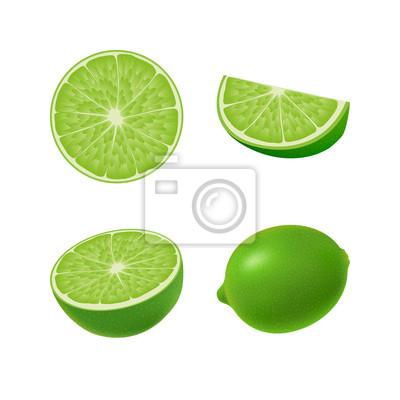 Set von isolierten farbigen grünen kalk, hälfte, scheibe, kreis ...