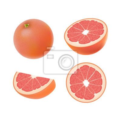 Set von isolierten farbigen rosa grapefruits, hälfte, scheibe ...
