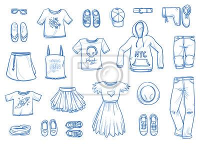newest 95c63 5fb5f Fototapete: Set von jungen mode-objekte. kleidung, accessoires, schuhe für