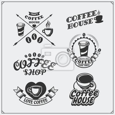 Set von kaffee-abzeichen, etiketten und design-elemente. kaffeehaus ...