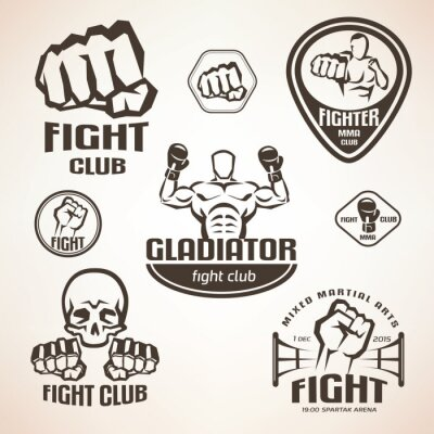 Fototapete Set von Kampfklub Embleme, MMA, Boxen Etiketten und Bages
