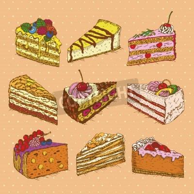 Set Von Kuchen In Doodle Vintage Stil Hand Gezeichnet Vektor