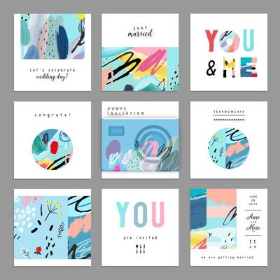Set von künstlerischen kreativen universellen Karten. Hand gezeichneten Texturen.