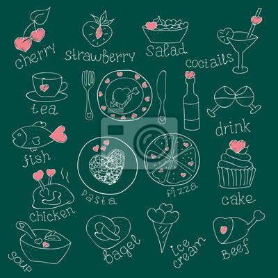Set Von Lebensmitteln Mit Herzen Liebe Romantisch Fur