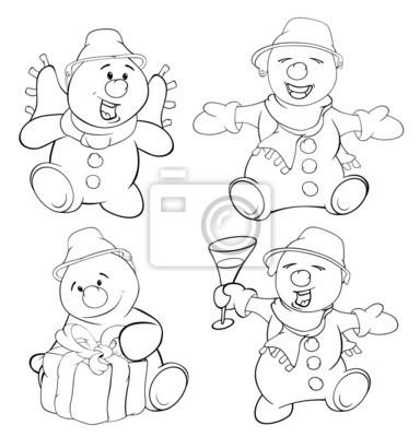 Set von lustigen weihnachtsschneemann. malbuch fototapete ...