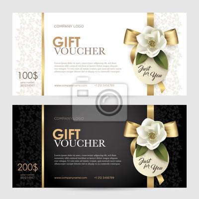 Set von luxus geschenkgutschein mit einem gold bogen, band und ...