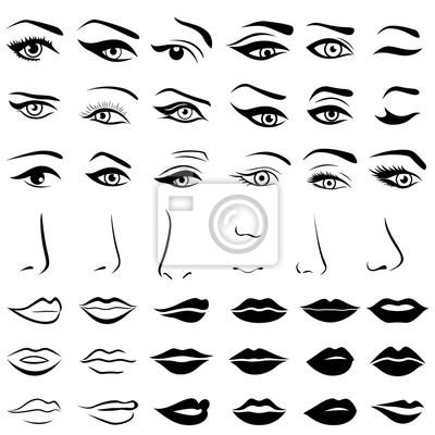 Fototapete Set von menschlichen Augen, Nasen und Lippen