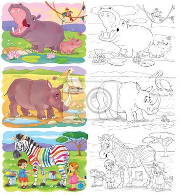 Set von niedlichen afrikanischen tieren. malvorlage. illustration ...