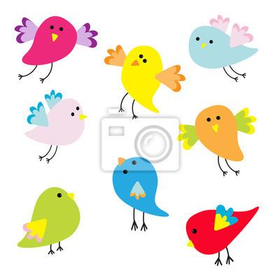 Set von niedlichen Comic-Vögel