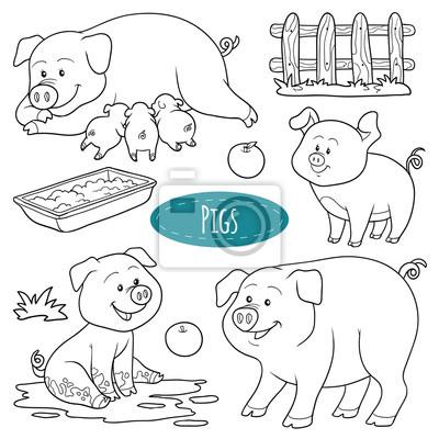 Set von niedlichen nutztiere und objekte, vektor-familie schweine ...
