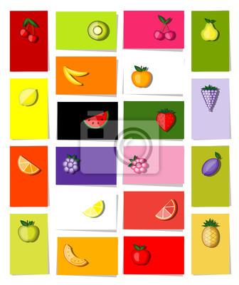 Set von Obst, 20 Karten für Ihren Entwurf mit Platz für Ihren Text