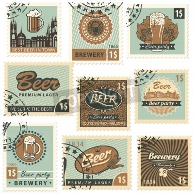 Fototapete Set von Postwertzeichen auf Thema Bier und Brauerei