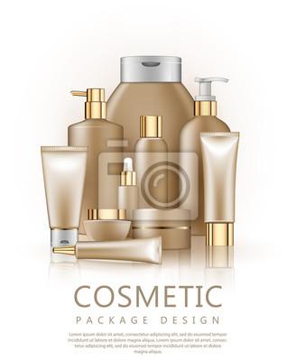 Set von realistischen paket für luxus kosmetik produkt
