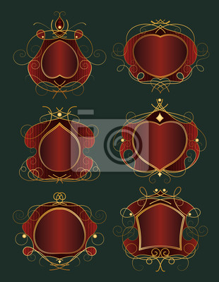 Set von roten und goldenen Rahmen