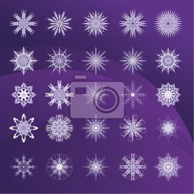 Set von Schneeflocken violetten Hintergrund