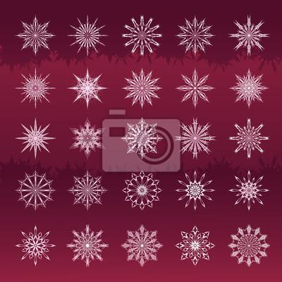 Set von Schneeflocken weinig Hintergrund
