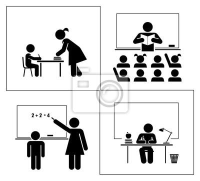 Set von schule und bildung piktogramme. schule und klassenzimmer ...