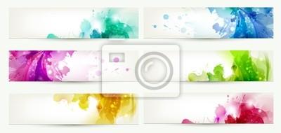 Fototapete Set von sechs Banner, abstrakte Header mit vielfarbige Blots