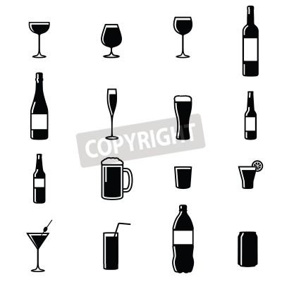 Fototapete Set Von Sechzehn Getränken Schwarz Weiß Silhouette Vektor-Illustrationen