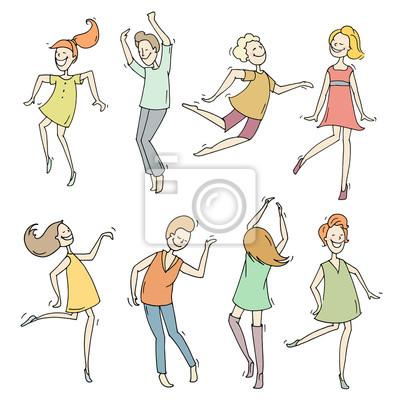 Set Von Skizze Tanzen Menschen In Verschiedenen Posen Gekritzel