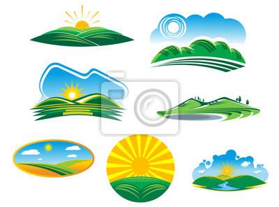 Set von sonnigen Sommerlandschaften