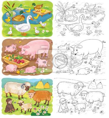 Set von süßen nutztieren. malvorlage. nette schweine, schafe ...
