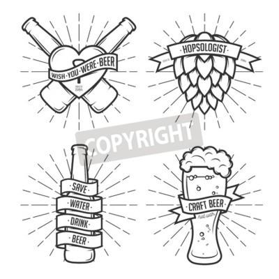 Fototapete Set von T-Shirt Bierdrucke. Bier Etiketten, Abzeichen, Designelemente. Weinlesebänder mit lustigen Zitaten. Sätze über Bier.