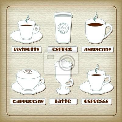 Set von tassen mit verschiedenen kaffee-getränke auf alte pappe ...
