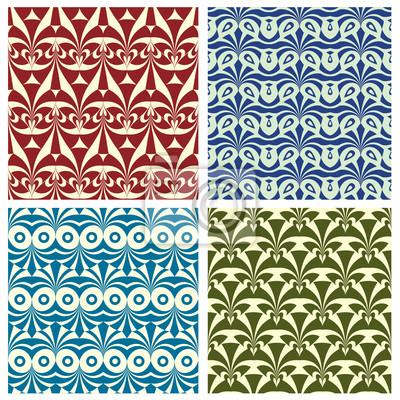 Fototapete Set von traditionellen geometrischen nahtlose Muster.