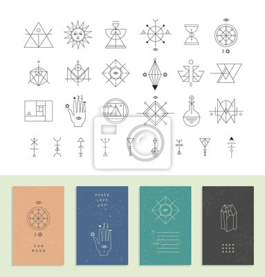 Set von trendy Karten mit geometrischen Symbolen. Alchimie Symbole