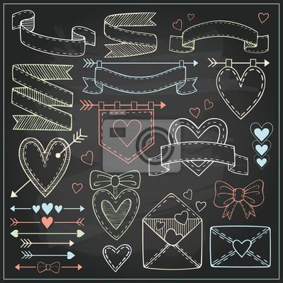Set von Valentinstag Bänder, Pfeile, Etiketten, Herzen und Flaggen auf Tafel