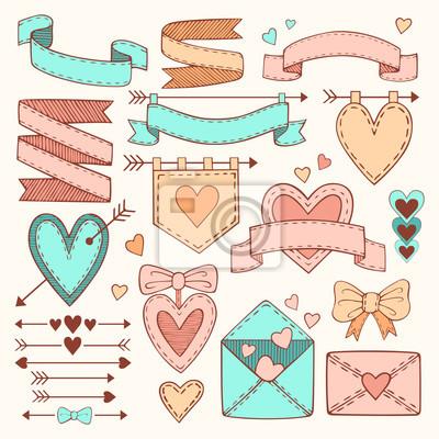 Set von Valentinstag Bänder, Pfeile, Etiketten und Herzen