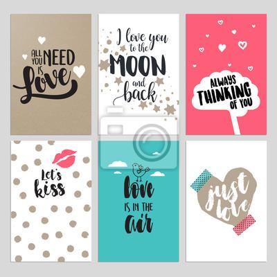Set von valentinstag grußkarten. flat design vektor illustrationen ...