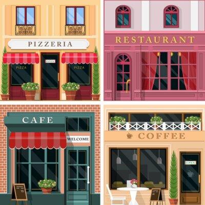 Fototapete Set von Vektor detaillierte flache Design-Restaurants und Cafés Fassade Symbole. Cooles Grafik-Außendesign für das Restaurantgeschäft.