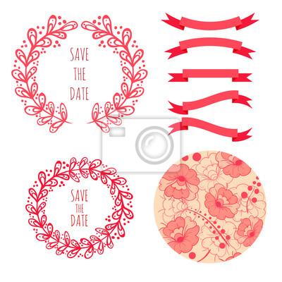 Set Von Vektor Hand Gezeichneten Elemente Mit Blumen Fur Hochzeit