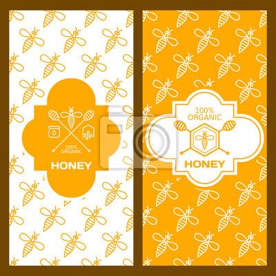 Set von vektor-honig-hintergründe für etikett, paket, banner ...
