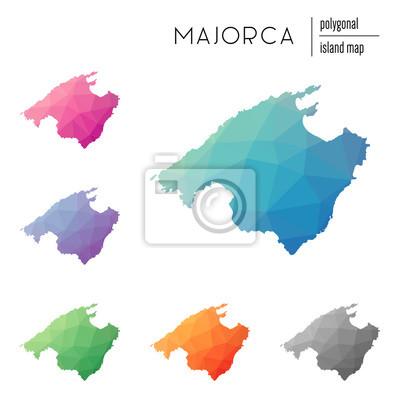 Mallorca Karte Umriss.Fototapete Set Von Vektor Polygonalen Mallorca Karten Mit Hellen Farbverlauf